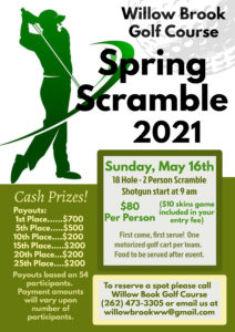Willow Brook 2 Man Spring Scramble @ Willow Brook Golf Course